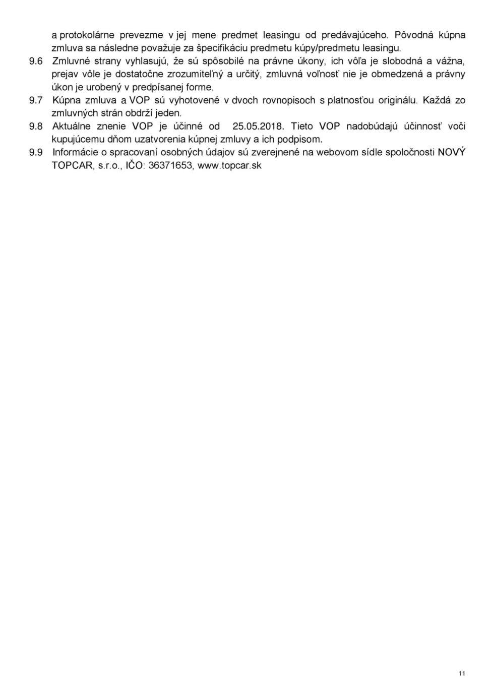 Všeobecné obchodné podmienky str.11