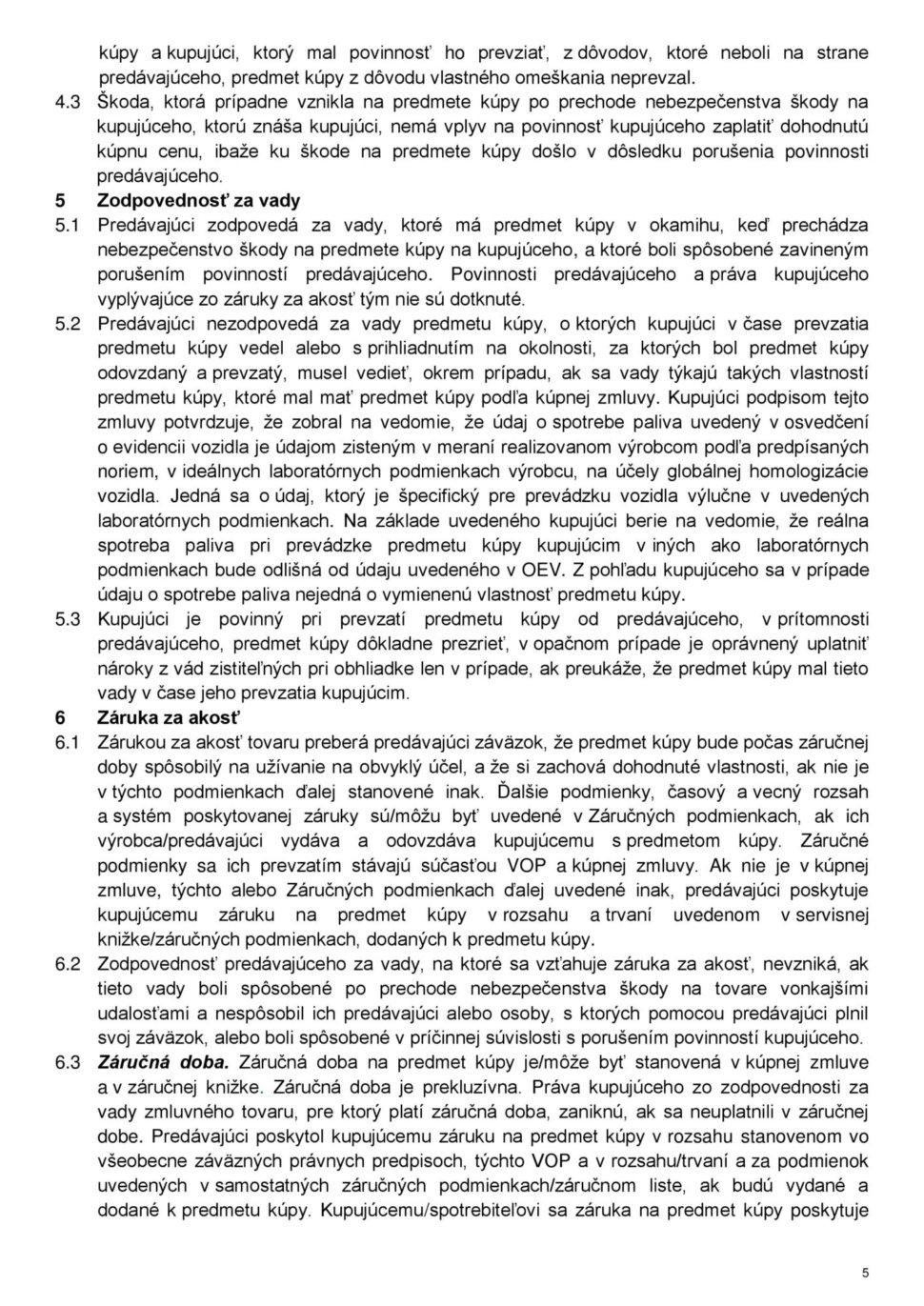 Všeobecné obchodné podmienky str.5